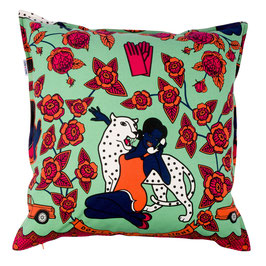 cushion CoverS 60 x 60 cm (WOMAN WITH PHONE GREEN)