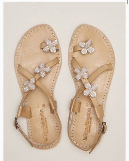 Blyth Flat Leather Sandal Snow White