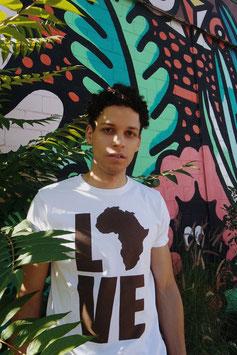 "T-SHIRT ""LOVE AFRICA""  WHITE/BROWN"