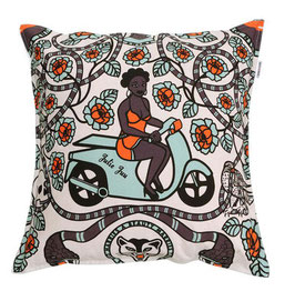 CUSHION COVERS 60 X 60 CM (WOMAN WITH BIKE WHITE)