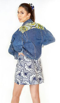 Jeans jacket with African Application