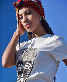 African Mask with cap white t-shirt