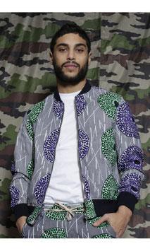 unisex Bomber jacket (green & violet)