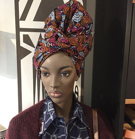 Elastic jamaican HEADWRAP WITH AFRICAN PRINT