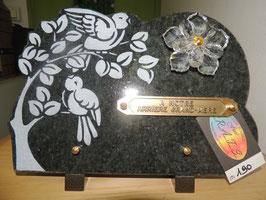 Plaque en granit noir oiseaux et fleur en cristal