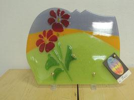 Plaque en verre colline et fleurs