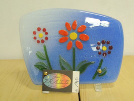 Plaque en verre trois fleurs
