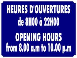 Horaires d'ouverture français-anglais