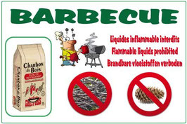 Barbecue charbon liquide inflammable interdit FR/AN/NL/ALL