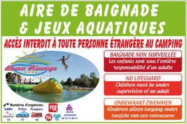 Panneau Aire de baignade & Jeux aquatiques avec photo et logo