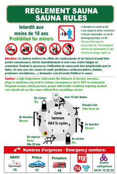Règlement Sauna en 2 langues