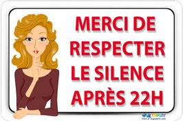 Panneau respecter le silence