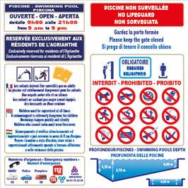 Panneau règlement piscine avec profondeur en 3 langues