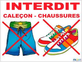 Interdit  caleçon et chaussure en Français