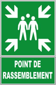 Panneau rassemblement avec texte en Français