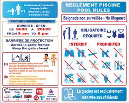 Règlement piscine pour résidence, baignade non surveillée