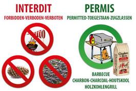 Panneau Barbecue charbon de bois avec pictogrammes FR/AN/NL/ALL