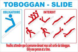 Panneau règlement toboggan 2 langues