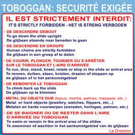 Règlement toboggan 3 langues