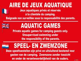 Panneau Aire de Jeux aquatiques. Baignade non surveillé
