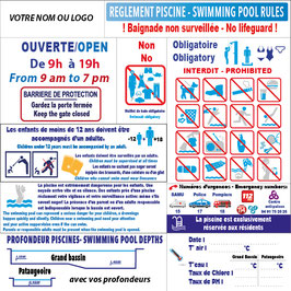 Panneau règlement piscine avec profondeur en 2 langues