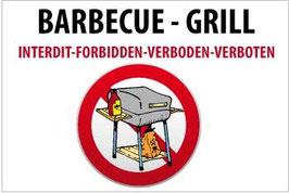 Panneau Barbecue charbon interdit - gas permis