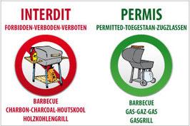 Panneau Barbecue charbon interdit - gaz permis