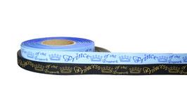 "1m Webband ""Prince/ss of the Dogpark"" Borte Hund, 20mm breit, schwarz oder hellblau"