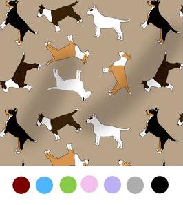Bullterrier Hunde Stoff, Baumwoll-Jersey, viele Farben