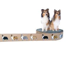 1m Collie / Sheltie Webband Borte Hund, 20mm breit, beige