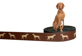 """1m Webband """"Magyar Vizsla"""" Borte Hund, 20mm breit, braun"""