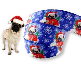 1m Weihnachten Borte Hund, Mops, 22mm breit