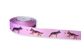 1m Deutscher Schäferhund Borte Hund, 22mm breit, rosa