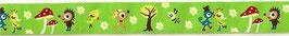 1m Webband Waldtiere grün, 16mm breit