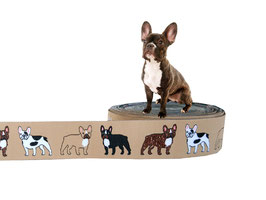 """1m Webband """"Französische Bulldogge"""" Borte Hund, 25mm breit, beige"""