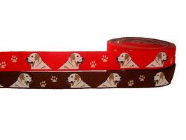 """1m Webband """"Golden Retriever"""" Borte Hund, 23mm breit, 2 Farben"""