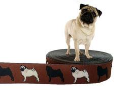 """1m Webband """"Mops"""" Borte Hund, 20mm breit, braun"""