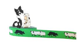 1m Hütehund mit Schafen / Border Collie Webband grün, Hund, 20mm breit