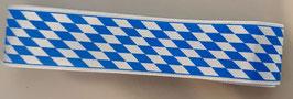 80cm Satinband Bayern, blau-weiß, 25mm breit