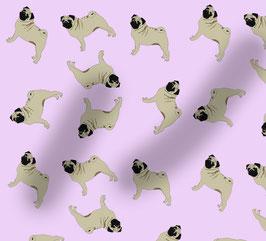 Mops Hunde Stoff, Baumwoll-Jersey, viele Farben