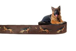1m Deutscher Schäferhund Webband Borte Hund, 25mm breit, braun