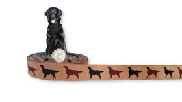 1m Flat Coated Retriever Webband Borte Hund, 20mm breit, beige