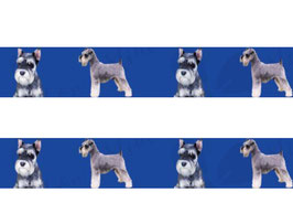 1m Schnauzer Borte Hund, 22mm breit, blau