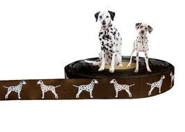 1m Dalmatiner Webband Borte Hund, 20mm breit, braun