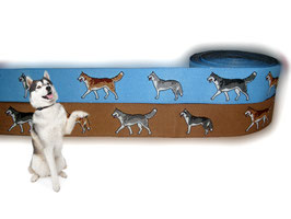 """1m Webband """"Husky"""" Borte Hund, 23mm breit, 2 Farben"""