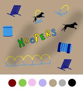 Hoopers Agility Hunde Stoff, Baumwoll-Jersey, viele Farben
