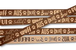 1m Wuff Schleck Hunde Borte Hund, 20mm breit, braun oder beige