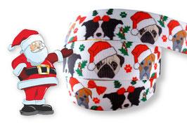 1m Comic-Hunde Weihnachtsborte, weiß, 22mm breit