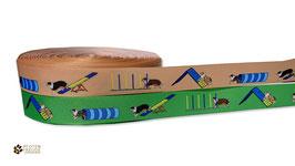 1m Agility-Aussie Borte Hund, 22mm breit, beige oder grün