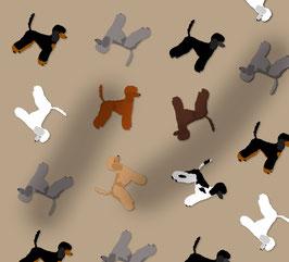 Pudel Hunde Stoff, Baumwoll-Jersey, viele Farben
